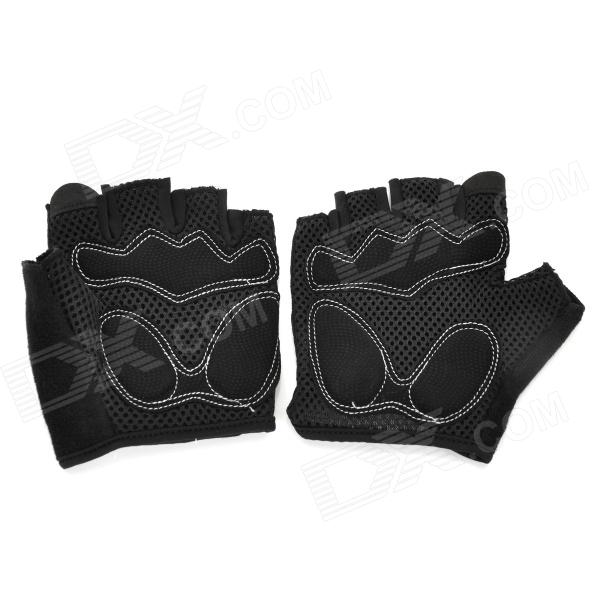 SAHOO 41413 Protective Half-finger Mesh Glove for Cycling - Black (L / Pair)