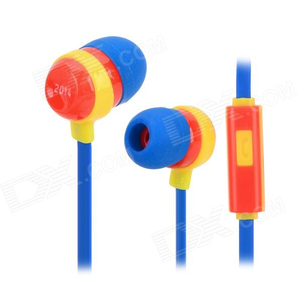 2014 World Cup Spain Style 3.5mm In-ear Earphone w/ Microphone for IPHONE / Samsung / HTC (117cm) гарнитура проводная samsung eo eg920l in ear fit blue
