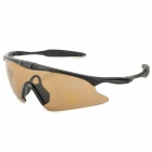 JSZ UZ Cycling Tactical Sunglasses Goggles - Tawny + Black