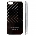 Grid Pattern LED Flash Color Changing Protective ABS Back Case for IPHONE 5 / 5S -Black (1 x CR2016)