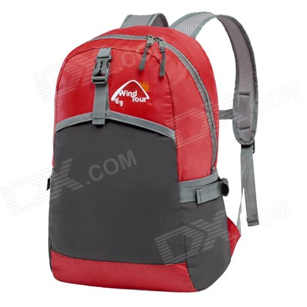 WindTour WTZDB1 Convenient Outdoor Folding Chinlon Backpack - Red + Black (22L)