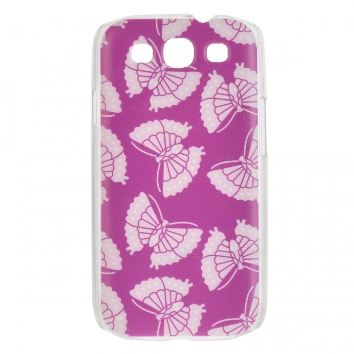 Kinston Butterfly Pattern Hard Back Case for Samsung Galaxy S3 i9300 - White + Brown kinston colorful flowers and butterflies pattern plastic protective case for samsung galaxy s3 i9300