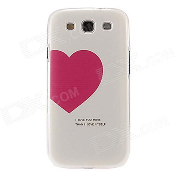 Kinston Red Heart Pattern Protective Plastic Hard Back Case for Samsung Galaxy S3 i9300 - White kinston colorful flowers and butterflies pattern plastic protective case for samsung galaxy s3 i9300