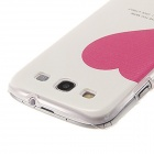 Kinston Red Heart Pattern Protective Plastic Hard Back Case for Samsung Galaxy S3 i9300 - White