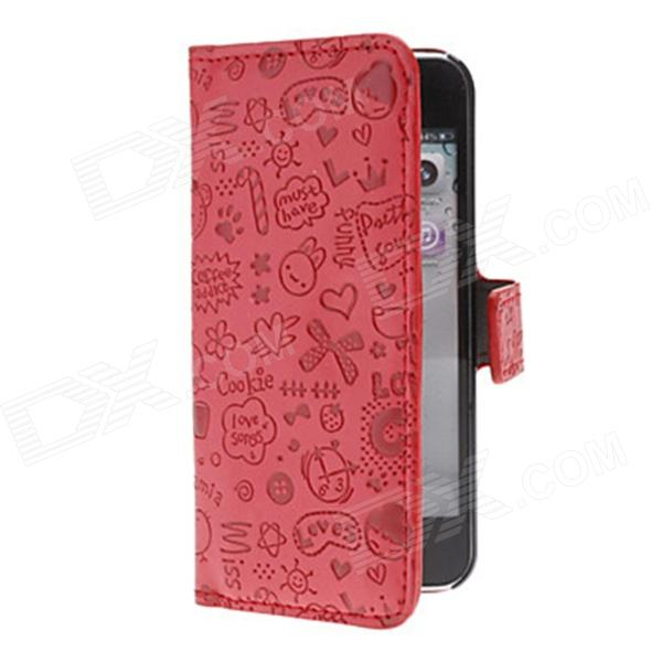 Kinston Little Girl Pattern Protective PU Leather Case Cover for IPHONE 5 - Red