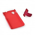 Quicksand Style Protective PC + Rubber Back Case w/ Mini Removable Stand for Google Nexus 5 - Red