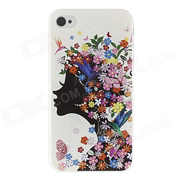 Kinston Girl Pattern Protective Plastic Hard Back Case for IPHONE 4 / 4S - White + Deep Grey iris pattern protective plastic back case for iphone 3g white