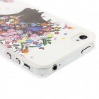 Kinston Girl Pattern Protective Plastic Hard Back Case for IPHONE 4 / 4S - White + Deep Grey