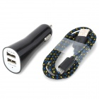Ultra-mini Dual USB Car Charger w/ Woven Data Sync / Charging Cable for Samsung - Black (12~24V)