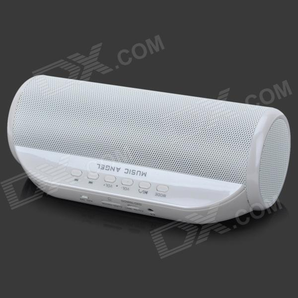 MUSIC ANGEL JH-MD13BT 8W  Bluetooth Speaker w/ 3.5mm / FM / Micro USB / TF - White - DXMedia Player Speakers <br>Color White + Silver Grey + Multi-Colored Brand MUSIC ANGEL Model JH-MD13BT Material Zinc alloy Quantity 1 Piece Shade Of Color White Total Power 8 W SNR 80dB Sensitivity 116dB THD Frequency Response 120~18000Hz Impedance 4 ohm Channels 4.0 Interface 3.5mmOthersMicro USB Supports Card Type MicroSD (TF) Max Extended Capacity 32GB Radio Tuner Yes FM Frequency 78.5~108MHz Built-in Battery Capacity 2200 mAh Plug Specifications OthersMicro USB 2.0 Power Supply 5V Packing List 1 x Speaker 1 x Cable (94cm) 1 x Pouch 1 x Chinese / English user manual<br>