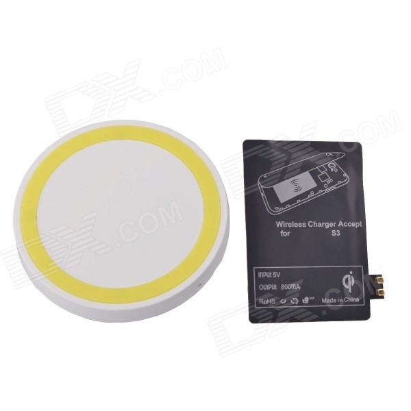 T2 Wireless Charger Pad + Wireless charger Receiver for Samsung Galaxy S3 i9300 - White + Yellow