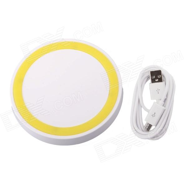 T2 Mini QI Wireless Charger Pad for LG E960 Google Nexus 4 2G Nokia Lumia 920 - White + Yellow universal qi wireless charger for cellphone white eu plug