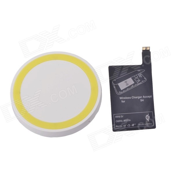 T2 Wireless Charger Pad + Wireless charger Receiver for Samsung Galaxy S4 i9500 - White + Yellow qi 4 mini qi standard wireless charger emitter wireless charging receiver set for samsung s4 i9500