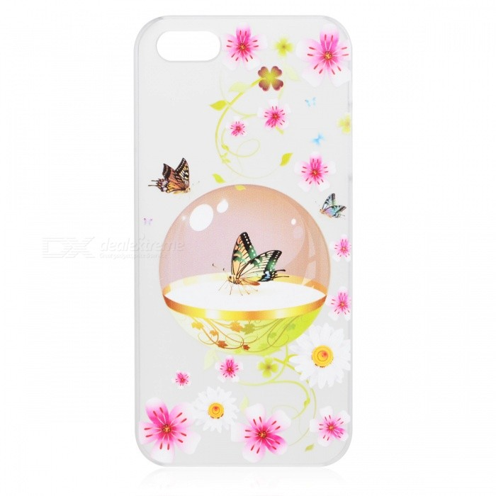 Kinston Colorful Butterfly Pattern Protective Plastic Hard Back Case for IPHONE 5 / 5S - White + Red