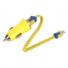 Mini Car Charger w/ Micro USB Cable Set for Samsung / Xiaomi / HTC / Nokia - Yellow + Blue