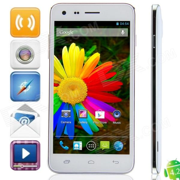 Mijue M7 MTK6582 Quad-Core Android 4.2.2 WCDMA Bar Phone w/ 5.0 IPS, 4GB ROM, GPS, OTG - White m pai 809t mtk6582 quad core android 4 3 wcdma bar phone w 5 0 hd 4gb rom gps black