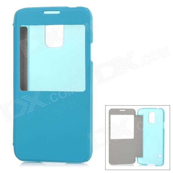 ABS + PU Leather Case w/ Display Window for Samsung Galaxy S5 - Light Blue + Transparent miniisw c 3 pu leather flip open case w display window for samsung galaxy s5 off white black