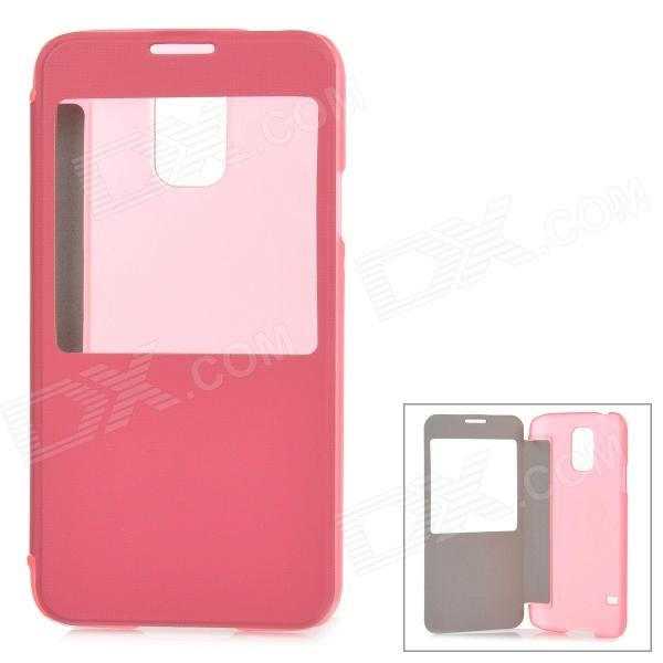 ABS + PU Leather Case w/ Display Window for Samsung Galaxy S5 - Pink + Transparent antipast свитер