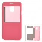 ABS + PU Leather Case w/ Display Window for Samsung Galaxy S5 - Pink + Transparent