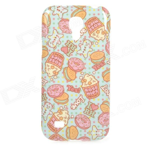 Cake Pattern Protective TPU Back Case for Samsung Galaxy S4 Mini i9190 - Blue + Pink + Multicolored protective cute spots pattern back case for samsung galaxy s4 i9500 multicolored