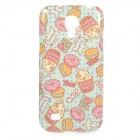 Cake Pattern Protective TPU Back Case for Samsung Galaxy S4 Mini i9190 - Blue + Pink + Multicolored