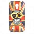 Pirate Owl Pattern UK National Flag Style TPU Case for Samsung Galaxy S4 Mini i9190 - Red + Blue