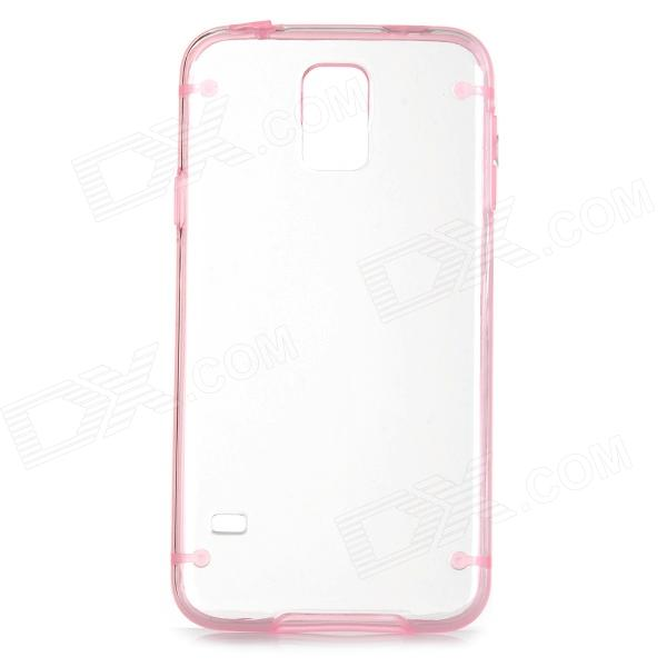 Protective Plastic + TPU Back Case for Samsung Galaxy S5 - Pink + Transparent cm001 3d skeleton pattern protective plastic back case for samsung galaxy s4