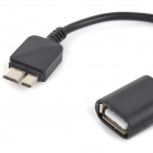 Micro USB 3.0 9 Pin Male to USB Female OTG Cable for Samsung Galaxy S5 - Black (16cm)