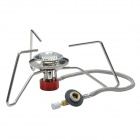 Outdoor Portable Stainless Steel Butane Gas Stove - Silver + Red