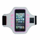 Outdoor Sports Arm Band w/ 3-Mode LED Light for IPHONE 5 / 5C / 5S / 4 / 4S - White
