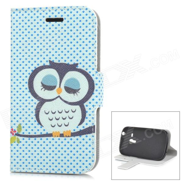 Cute Sleepy Owl Style Protective PU Leather Case for Samsung i8190 - Multicolor cute sleepy owl style protective tpu back case for samsung s6310 green
