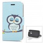 Cute Sleepy Owl Style Protective PU Leather Case for Samsung i8190 - Multicolor