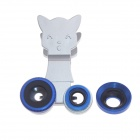 Cat Style Clip 3-in-1 Micro-NIKKOR + Wide-angle + Fisheye Lens for Mobile Phone & PAD - Deep Blue