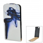 A-556 Protective Top Flip Open PU + Plastic Case for IPHONE 5 / 5S - White + Blue