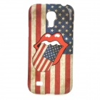 Big Mouth / US Flag Pattern TPU Back Case for Samsung Galaxy S4 Mini / i9190 - White + Blue + Red