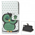 A-55 Owl Pattern Protective PU Leather + Plastic Case for IPHONE 4 / 4S - White + Green