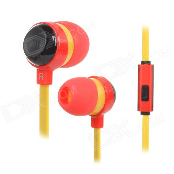 2014 World Cup Series 3.5mm Jack Wired In-Ear Stereo Earphone w/ Mic - Black + Yellow