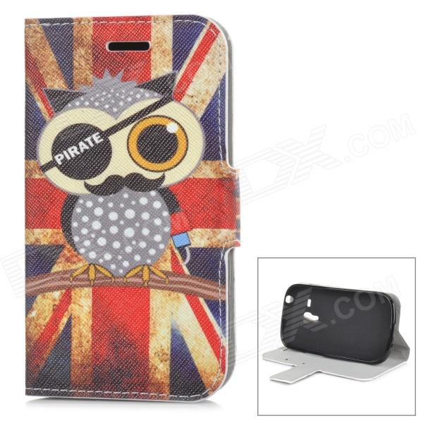 Pirate Owl Pattern UK National Flag Style PU Leather + TPU Case for Samsung i8190 - Red + Blue bmbe табурет pirate