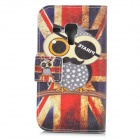 Pirate Owl Pattern UK National Flag Style PU Leather + TPU Case for Samsung i8190 - Red + Blue