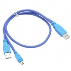CHEERLINK USB 2.0 Male to USB 2.0 Male + Mini USB Male Data Sync Cable - Blue (62cm)