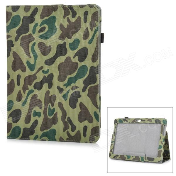 l-55 Flip-Open Patterned PU Leather Case for Samsung Galaxy Tab 2 P5100 - Army Green Camouflage keymao luxury flip leather case for samsung galaxy s7 edge