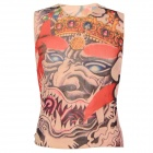 Tattoo Pattern Nylon + Spandex Sleeveless T-shirt - Red + Multicolored (Free Size)