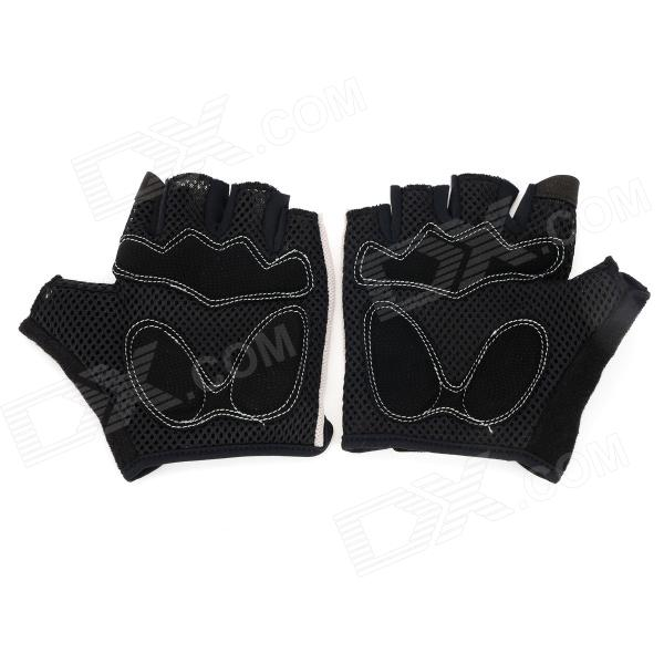 SAHOO 41413 Protective Half-finger Mesh Glove for Cycling - Black + Grey (L / Pair)