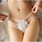 3578 Sexy Cotton Flower Patterned Elastic Low Waist Underwear - White