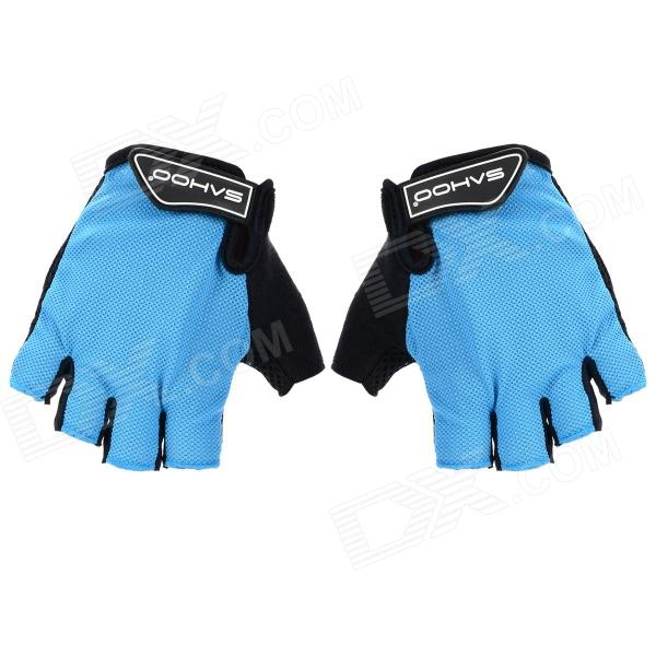 SAHOO 41413 Outdoor Cycling Sandwich Mesh Fabrics Half-Finger Gloves - Black + Light Blue (L / Pair) pro biker mcs 04 motorcycle racing half finger protective gloves red black size m pair