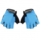 SAHOO 41413 Outdoor Cycling Sandwich Mesh Fabrics Half-Finger Gloves - Black + Light Blue (L / Pair)