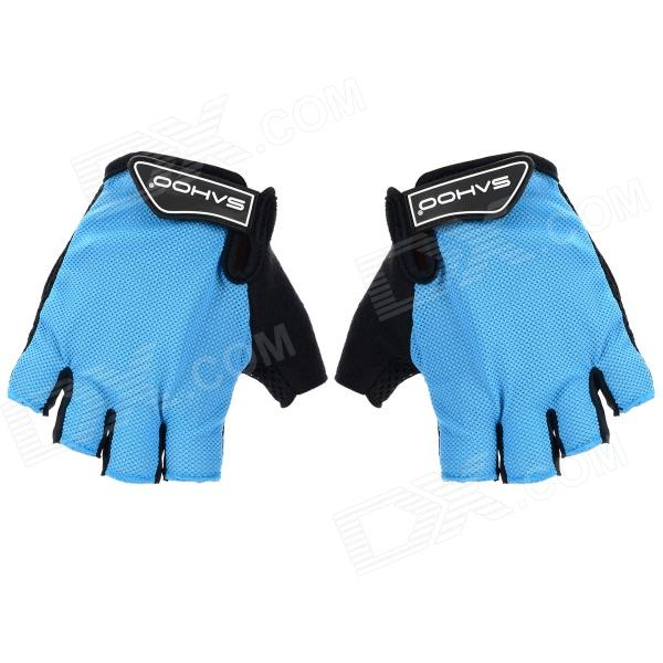 SAHOO 41413 Outdoor Cycling Sandwich Mesh Fabrics Half-Finger Gloves - Black + Light Blue (M / Pair) free soldier f pact outdoor tactical cycling half fingers nylon gloves black size m pair