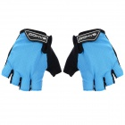 SAHOO 41413 Outdoor Cycling Sandwich Mesh Fabrics Half-Finger Gloves - Black + Light Blue (M / Pair)