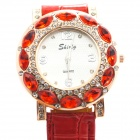 Stylish PU Leather Band Women's Quartz Analog Wrist Watch w/ Diamond - Red (1 x 626)