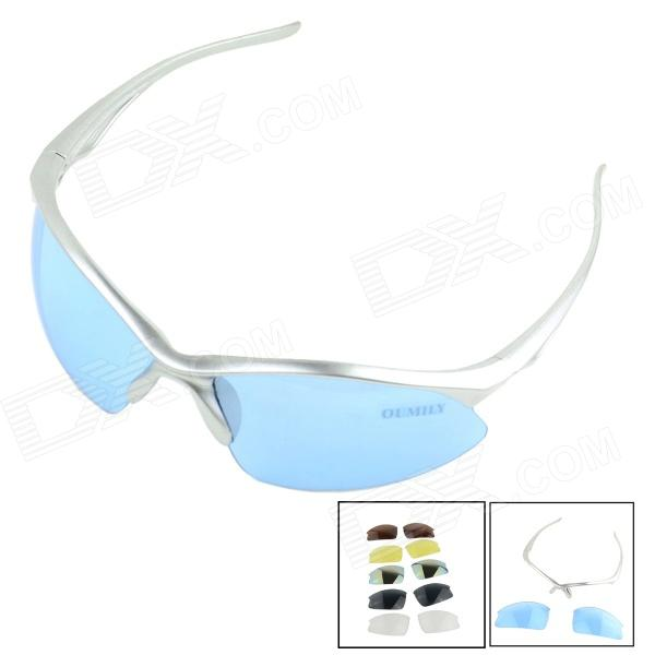 OUMILY Outdoor Cycling Sunglasses Goggles Replaceable lens Kit - Blue + Silver topeak outdoor sports cycling photochromic sun glasses bicycle sunglasses mtb nxt lenses glasses eyewear goggles 3 colors